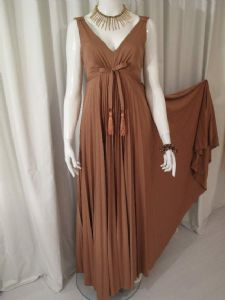 1970's Butterscotch sunray pleated John Charles vintage gown **SOLD**